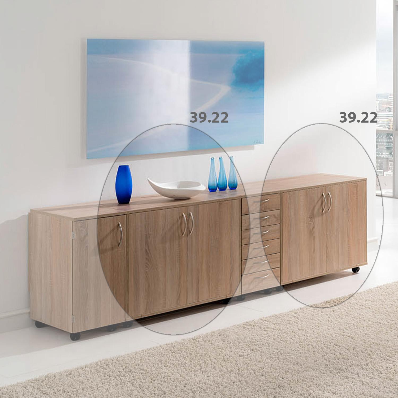 Hier ist die Möbelkombination Sarajewo zusammen geklappt und geschlossen als Sideboard dekoriert.