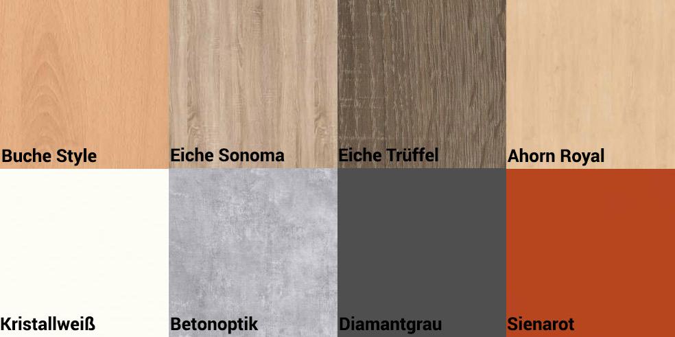Die RMF Möbel sind in den Holznachbildungen Buche, Eiche Sonoma, Eiche Trüffel, Ahorn und Kristallweiß erhältlich. Die Farben Betonoptik, Diamantgrau und Sienarot können zusätzlich zu den Holznachbildungen auch als Zweitdekor ausgewählt werden.