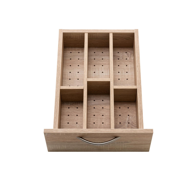 Der zusätzliche PIN-Boden mit Einteilung ist eine Erweiterung des BASE 4-Schubladen-Rollcontainers für bessere Sortierungsmöglichkeiten.