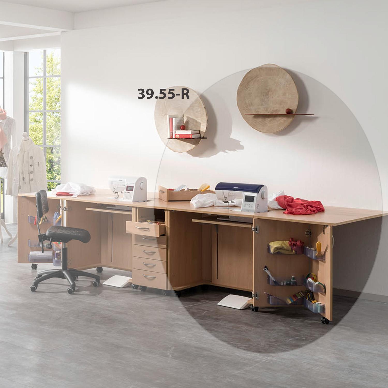 Die Nähmöbelkombination London besteht aus zwei Nähmöbeln mit Falttür und Auflageplatte und einem Zubehörcontainer.