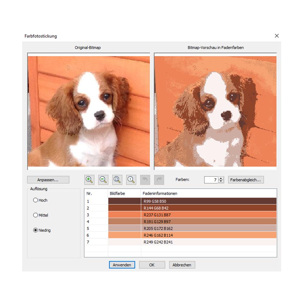 Fotos lassen sich automatisch in Farb- oder Graustufenstickerei umwandeln.