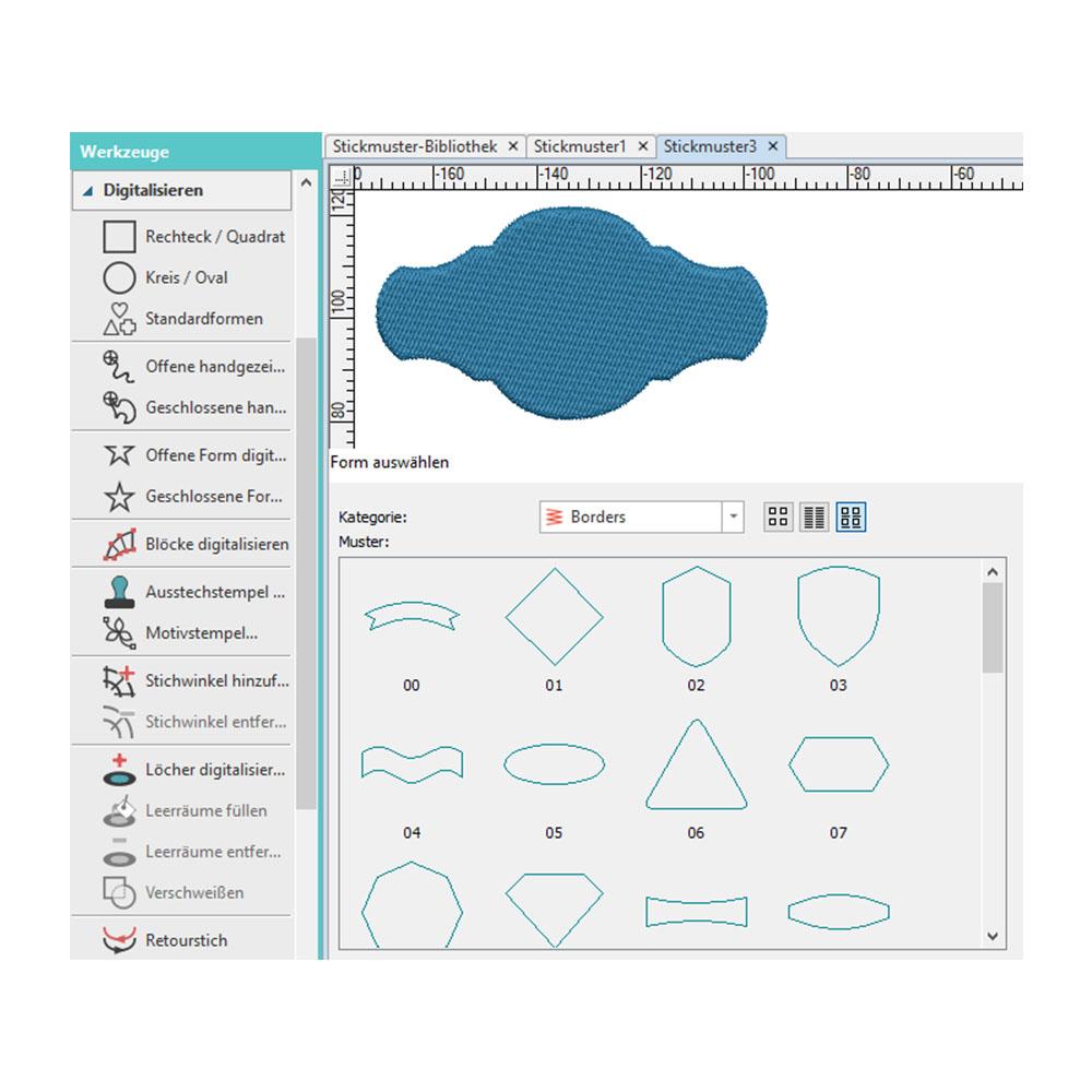 Standard Stickmuster Objekte lassen sich schnell aus einer Bibliothek digitalisieren.