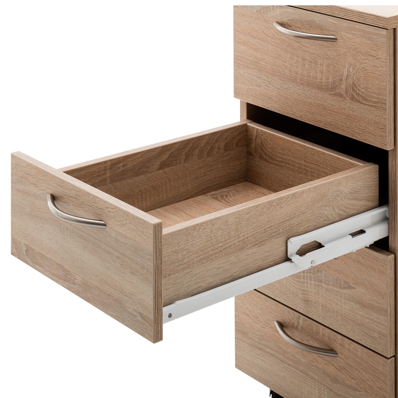Mit dem Vollauszug kann die Schublade komplett ausgezogen werden, ohne zu kippen oder Stabiliät zu verlieren.