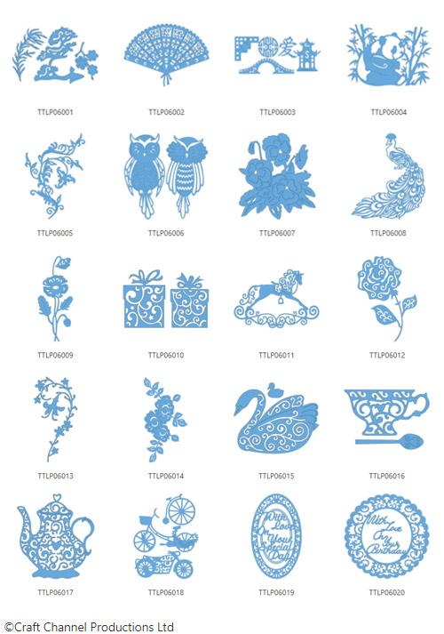 Die enthaltenen Designs der Tattered Lace Pattern Collection 6.