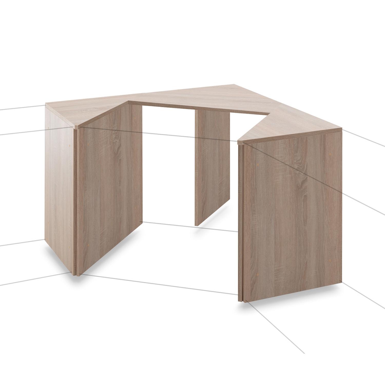 Das 45 Grad Eckelement Corner besteht aus einem linken und rechten Eckmöbel, einer Spitzplatte und einer Stützplatte. Die Stütz- und Spitzplatte sind ab Werk schon am Hauptmöbel montiert.