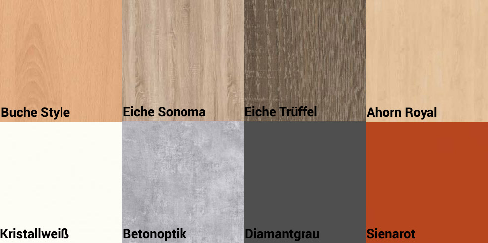 Die RMF Möbel sind in den Holznachbildungen Buche, Eiche Sonoma, Eiche Trüffel, Ahorn und Kristallweiß erhältlich.