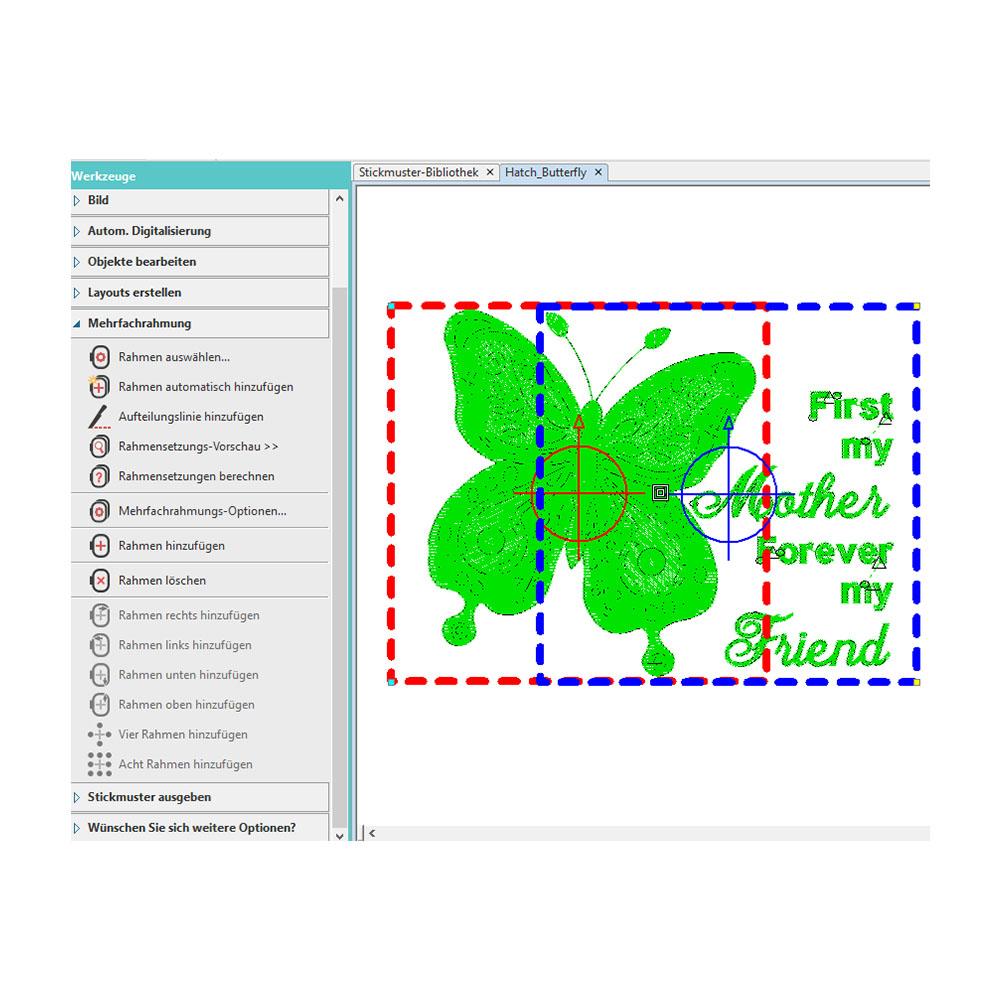 Zu große Muster können in der Software auf mehrere Rahmen aufgeteilt werden.