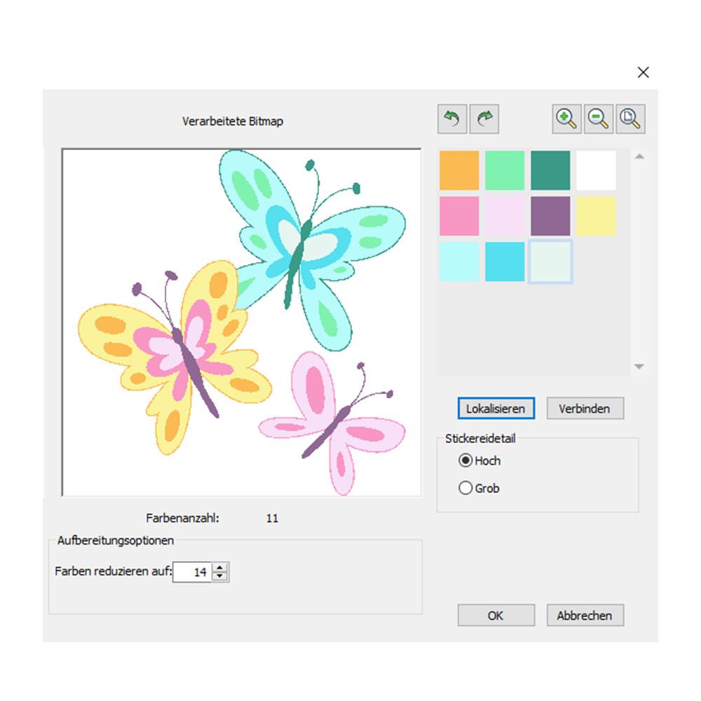 Die Software glättet die Farben, verschärft Konturen und reduziert Störungen automatisch bei Bildvorlagen.