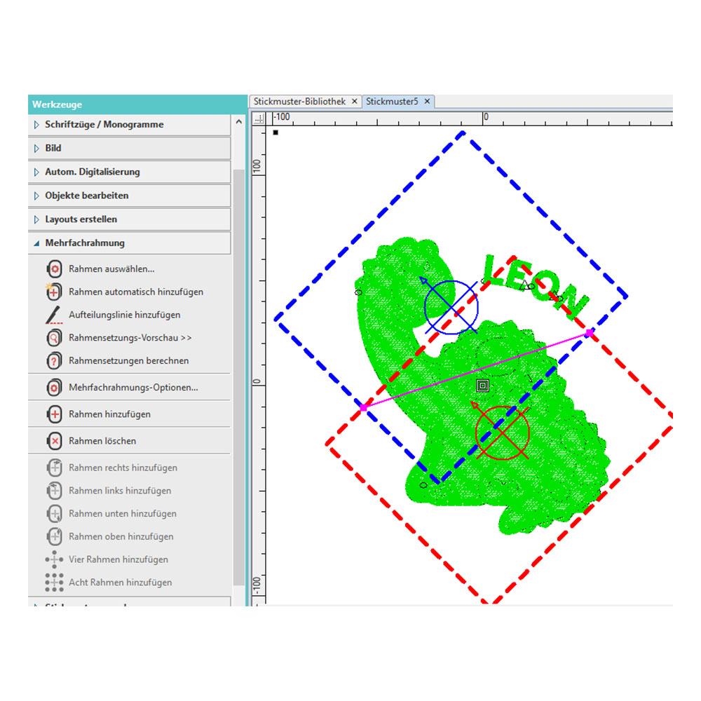 Das Programm teilt zu große Muster auf mehrere Rahmensetzungen auf.