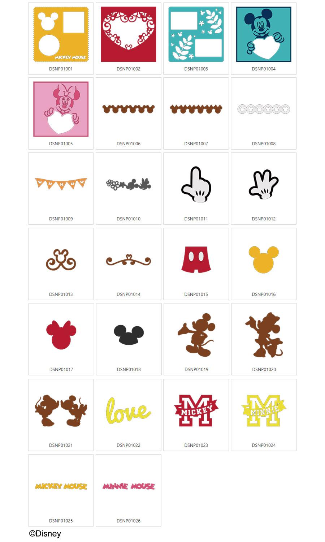 Die enthaltenen Mickey Maus & Minnie Maus Designs.