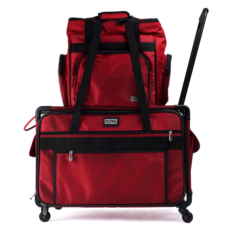 Die Overlocktasche mit dem separat erhältlichen TUTTO Nähmaschinen-Trolley kombiniert.