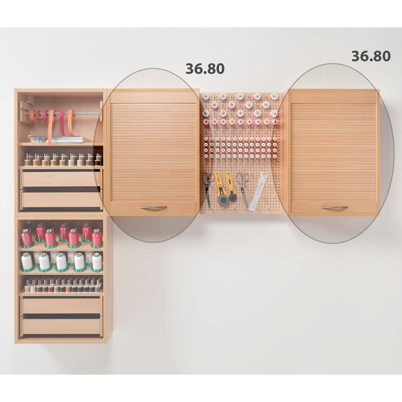 Die Kombination Norway besteht aus zwei Hängeregalen mit Rolladenfront und zwei Hängeregalen offen.