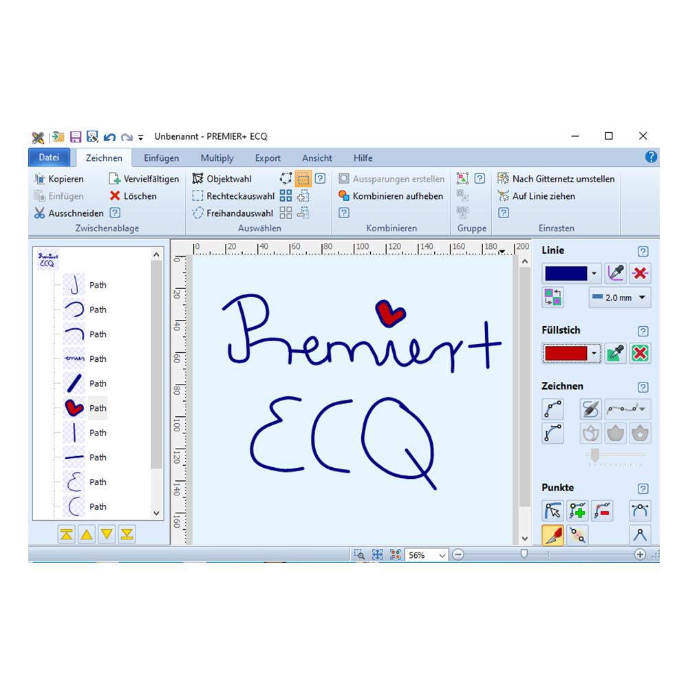 Direkt in der Software mit der Maus oder einem Grafiktablett zeichnen.