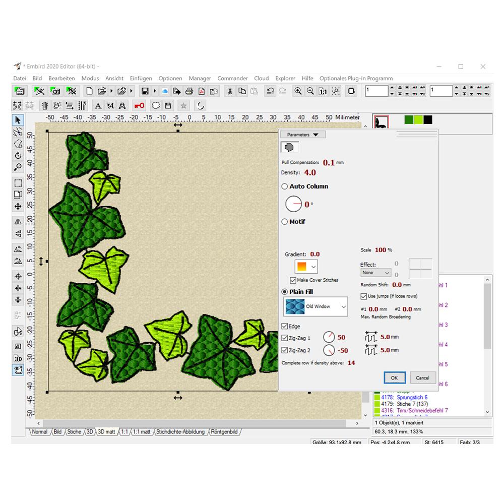Füllart einer Farbe ist im Editor schnell geändert.