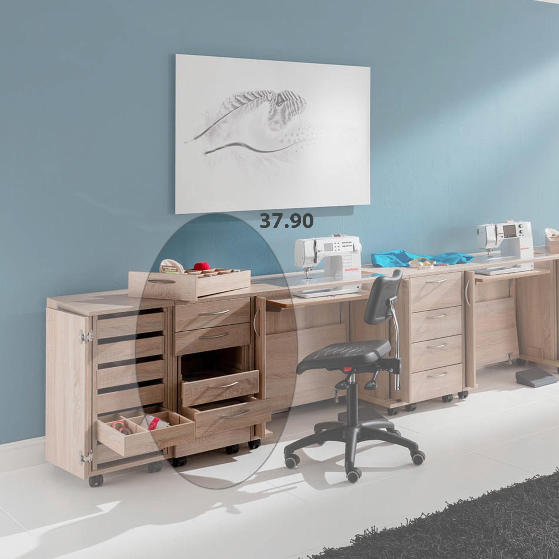 Bei der Möbelkombination Belgradmit dem 6-Schubladen-Rollcontainer sorgt für einen professionellen Arbeitsplatz.