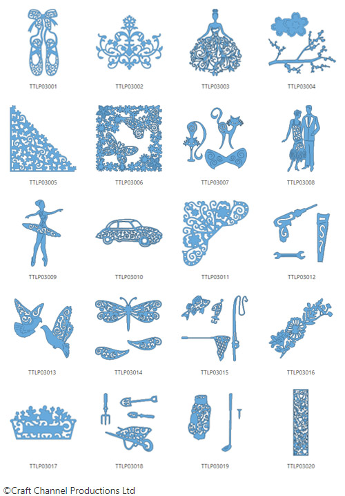 Die enthaltenen Designs der Tattered Lace Pattern Collection 3.