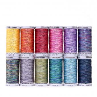 GÜTERMANN Nähfaden-Set Cotton 30 multicolour 300 m 12 Spulen