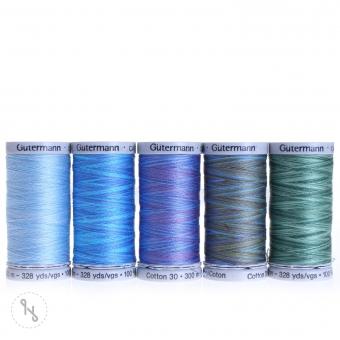 GÜTERMANN Stickfadenset Cotton 30 300m multicolor 5 Spulen grün/blau