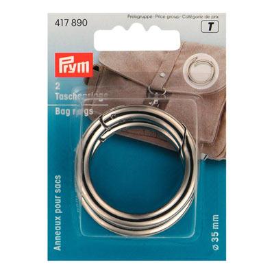 PRYM Taschenringe 35mm silberfarbig