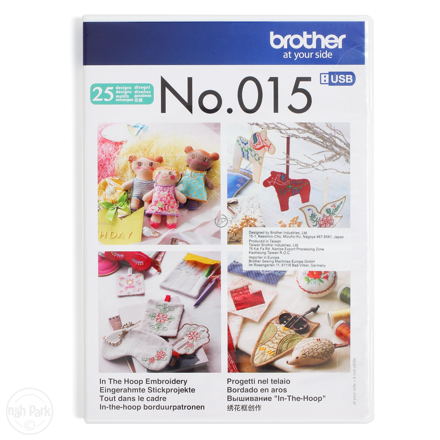 BROTHER Stickmuster USB-Stick 15 Sticken im Rahmen