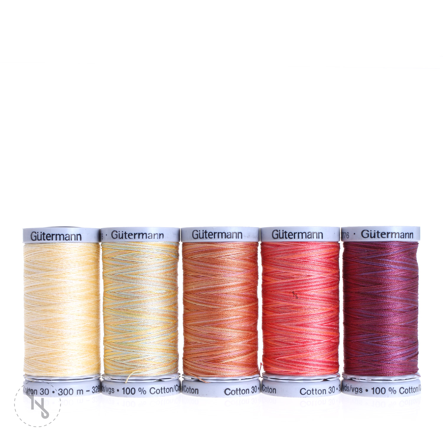 GÜTERMANN Stickfadenset Cotton 30 300m multicolor 5 Spulen gelb/rot