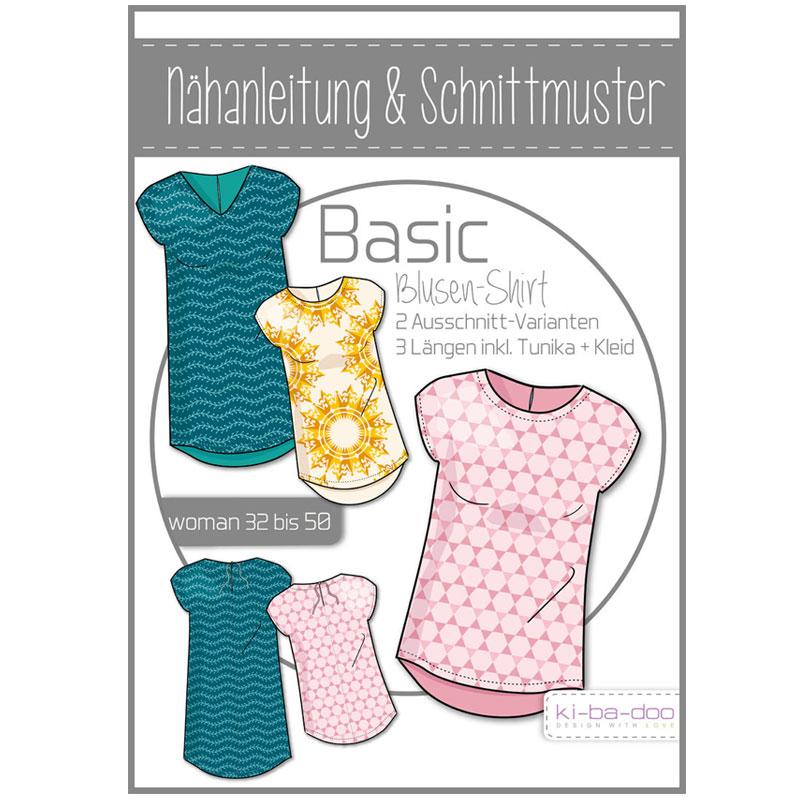 KI-BA-DOO Papierschnittmuster Basic Blusen-Shirt Damen