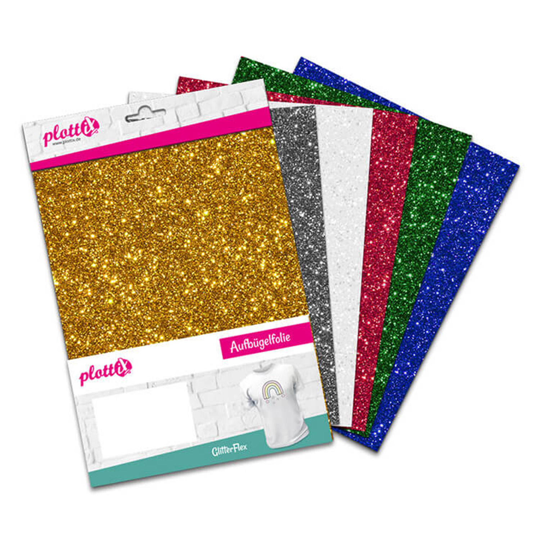 PLOTTIX GlitterFlex 30 cm x 30 cm Bundle mit 6 Farben