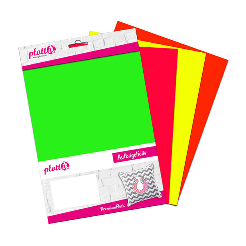 PLOTTIX PremiumFlock Neon 30 cm x 30 cm Bundle mit 4 Farben