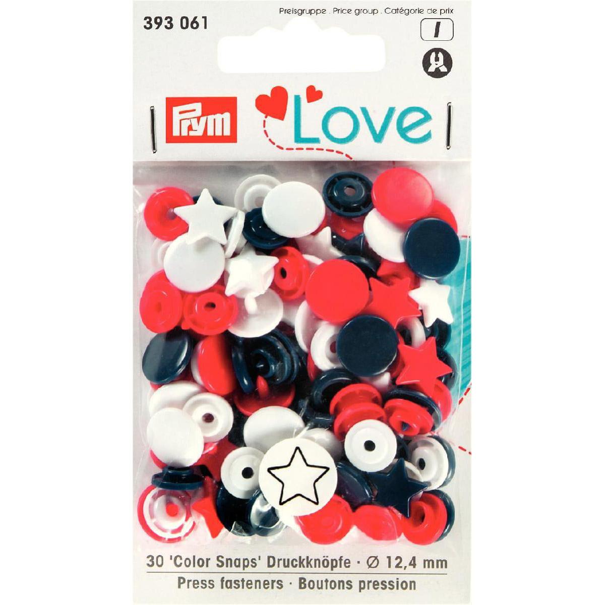 PRYM Love Color Snaps Stern rot/weiß/marine