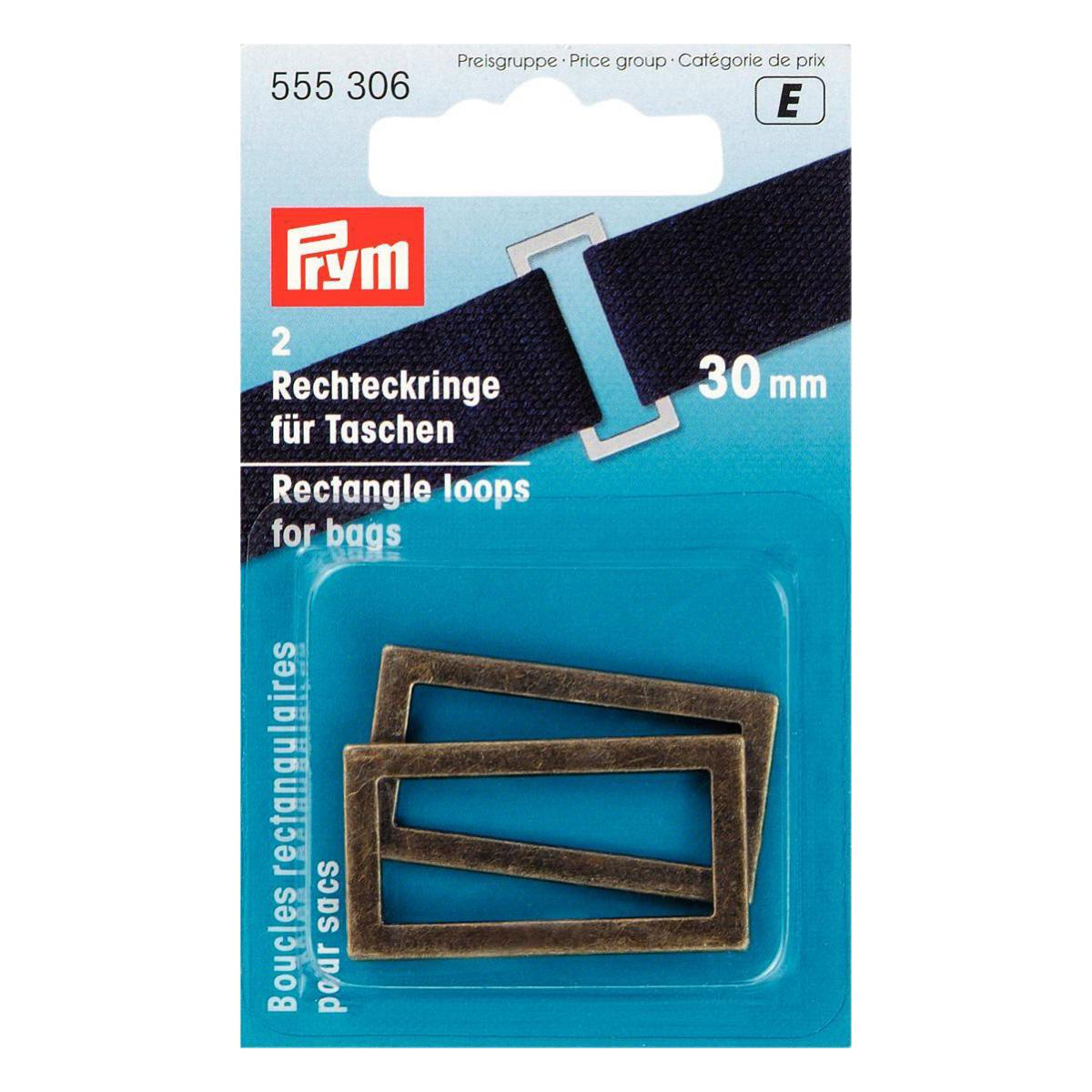 PRYM Rechteckringe 30mm altmessing
