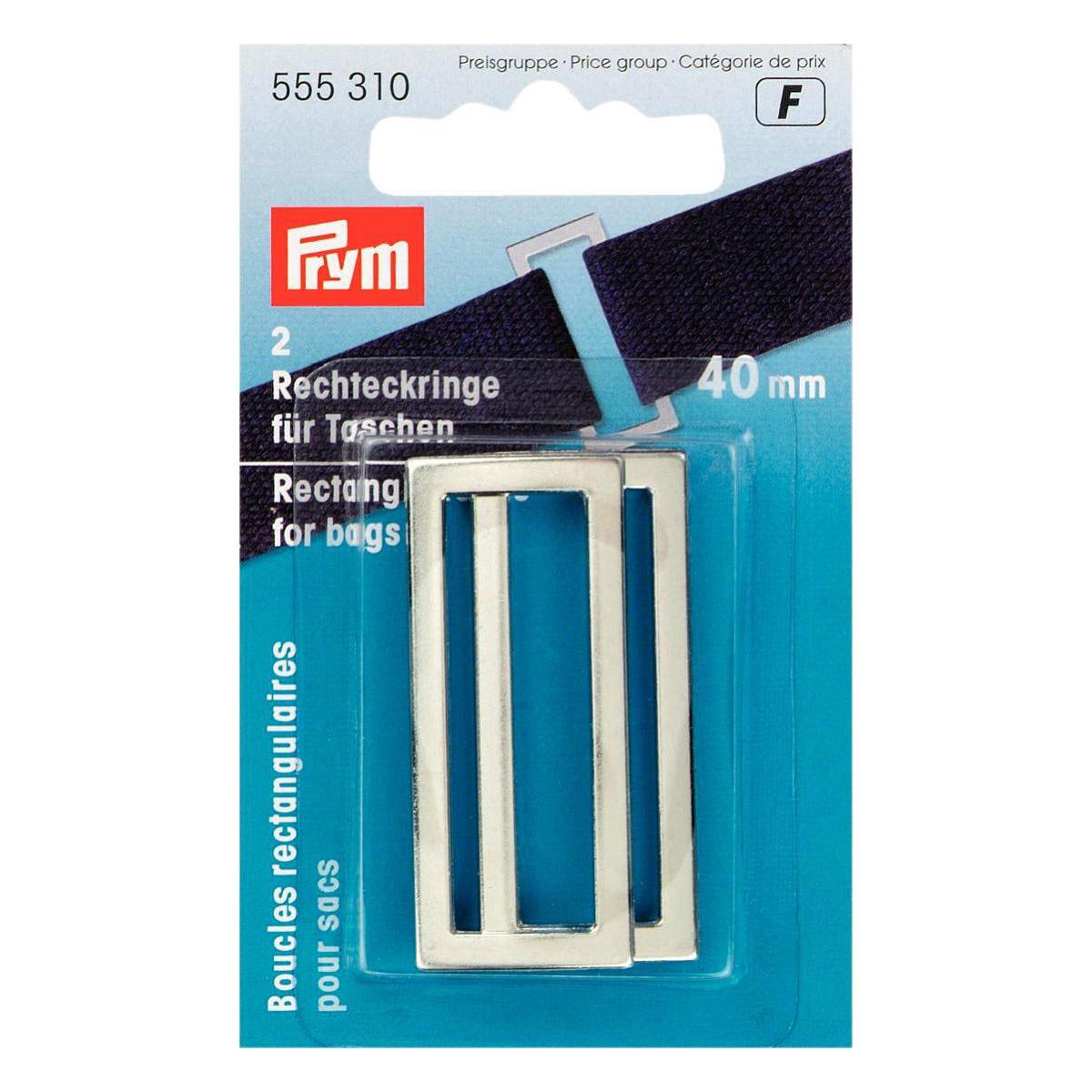 PRYM Rechteckringe 40mm silberfarbig