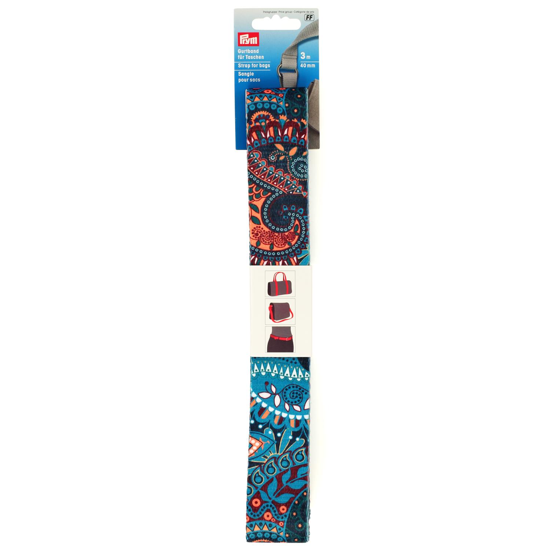 PRYM Gurtband 40mm türkis Paisley