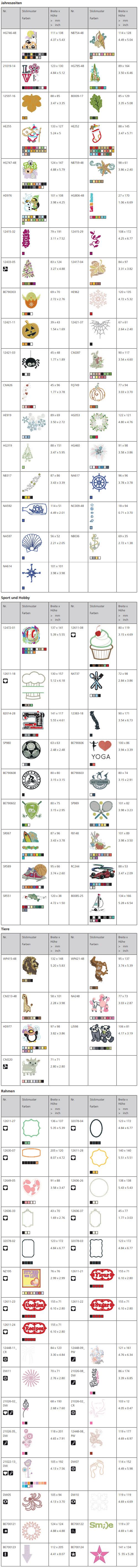 Bernina B 570 QE Stickmuster Jahreszeiten, Sport, Tiere