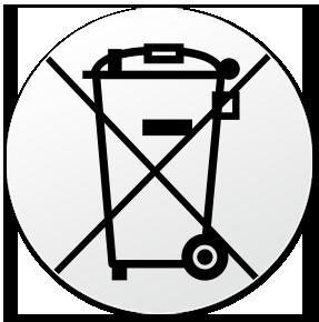 durchgekreuzte Mülltonne