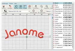 Janome Digitizer Junior V5 Schriften
