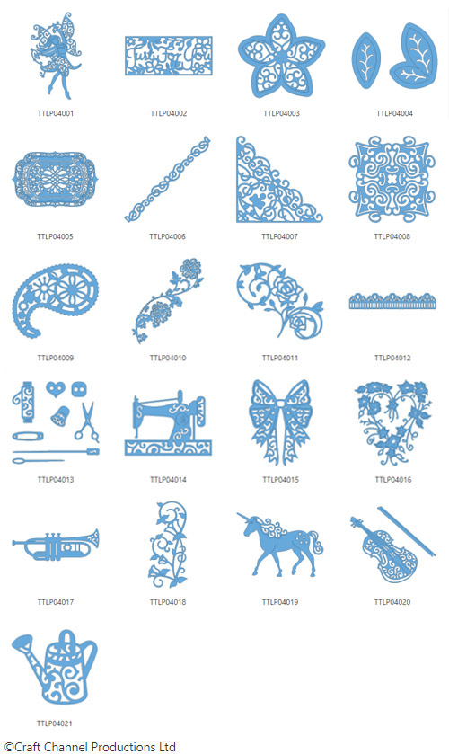 Die enthaltenen Designs der Tattered Lace Pattern Collection 4.