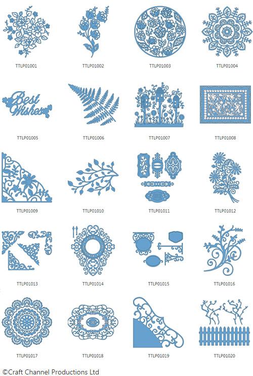 Die enthaltenen Designs der Tattered Lace Pattern Collection 1.