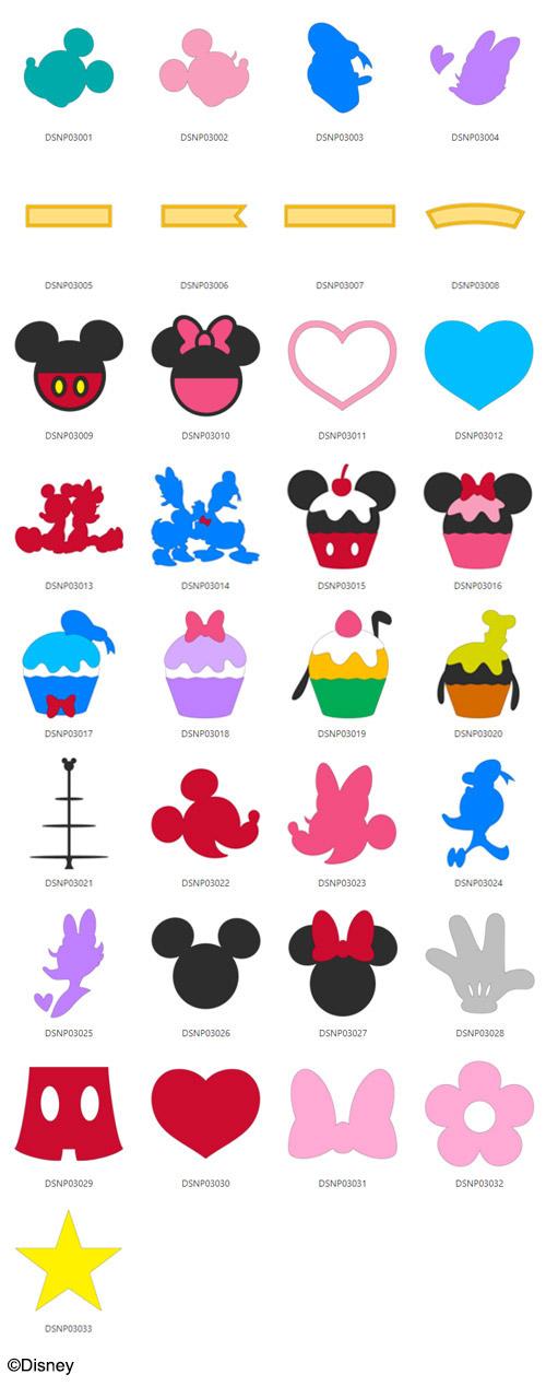 Die enthaltenen Designs von Mickey & Freunden.
