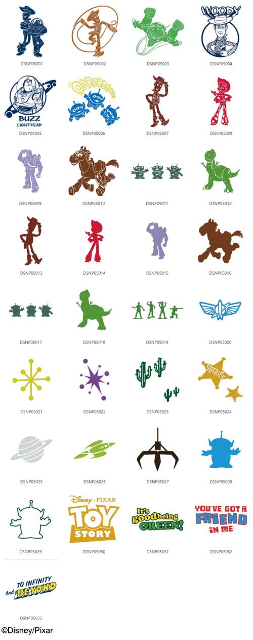 Die enthaltenen Toy Story Designs.