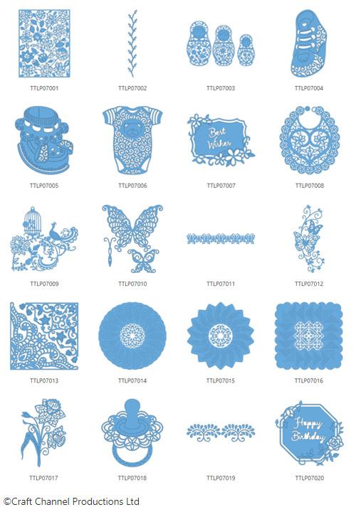 Die enthaltenen Designs der Tattered Lace Pattern Collection 7.