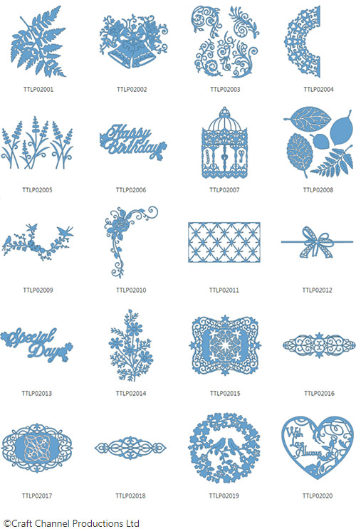 Die enthaltenen Designs der Tattered Lace Pattern Collection 2.