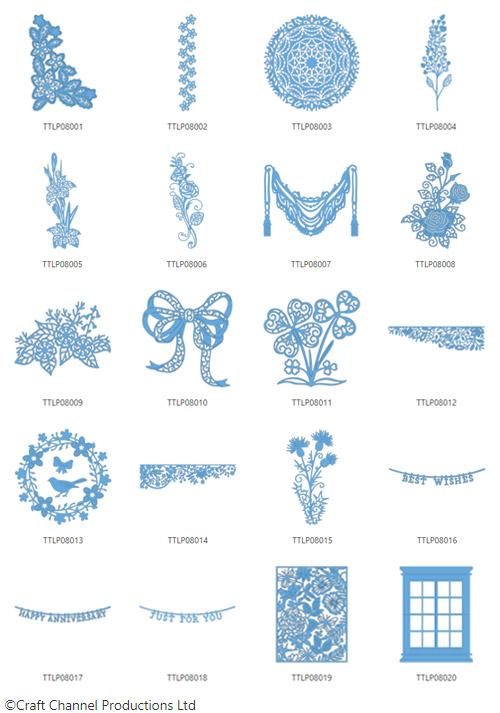 Die enthaltenen Designs der Tattered Lace Pattern Collection 8.