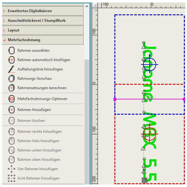 Wenn Ihre Stickerei zu groß ist, können Sie sie mithilfe der Mehrfachrahmung-Werkzeugpalette in mehrere Rahmensetzungen aufteilen.