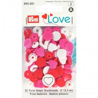 PRYM Love Color Snaps Herz rot/weiß/pink