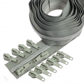 Silber metallisierter Reißverschluss 3 m