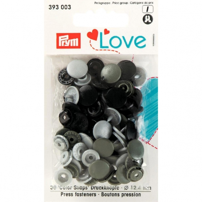 Prym Love Color Snaps grau