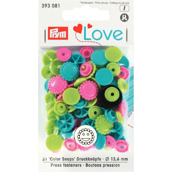 Prym Love Color Snaps Blume türkis/grün/pink