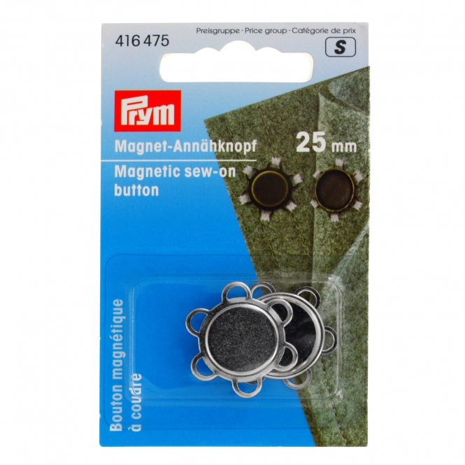 Prym Magnet-Annähknopf 25mm silberfarbig