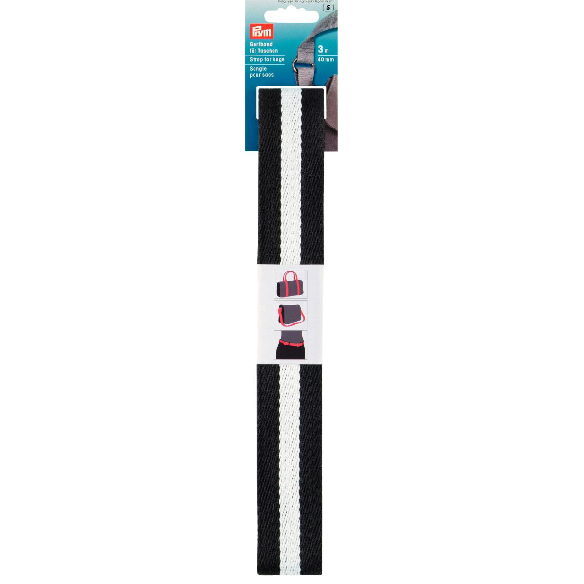 PRYM Gurtband 40mm schwarz-weiß