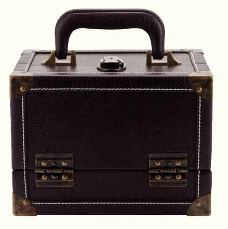 PRYM Koffer Lederlook M braun mit Nieten